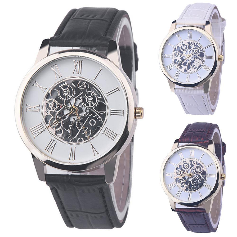 Reloj de hombre 2020 con esfera redonda de esqueleto mecánico hueco, correa de cuero de imitación, reloj de cuarzo analógico para hombre, reloj deportivo para hombre