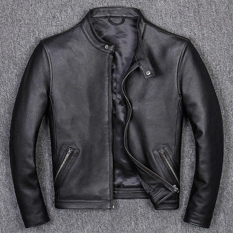 Spring Autumn Men's Sheepskin Coat Genuine Leather Jacket Men Korean Motorcycle Bomber Jacket Men Short Coat B681 KJ1458