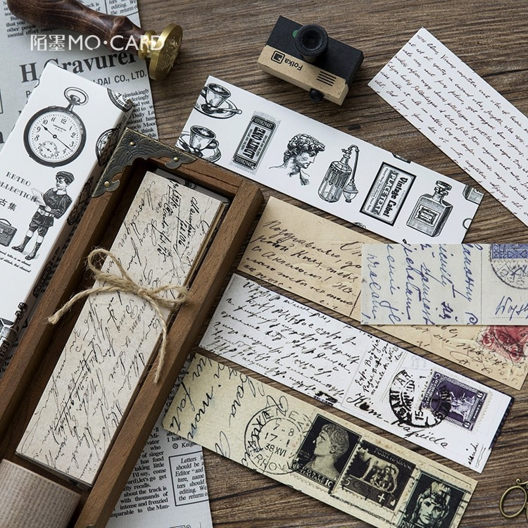 TPST 30pcs/box Vintage Retro Style Clock Newspaper Map Bookmarks for Novelty Book Reading Maker Page Creative Paper Bookmark