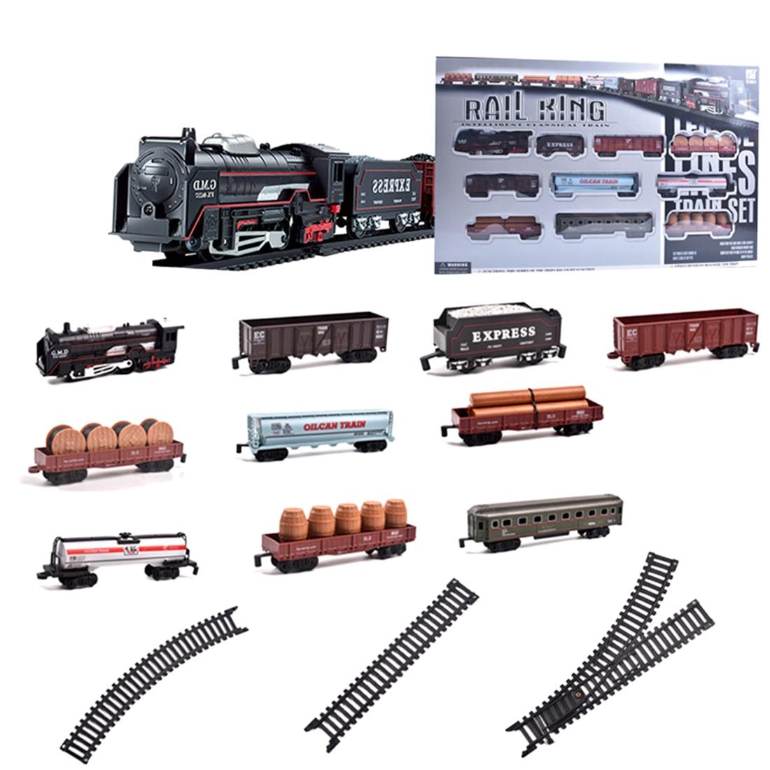 Crianças trem ferroviário elétrico mini playset clássico pequeno trem brinquedos modelo kits de construção