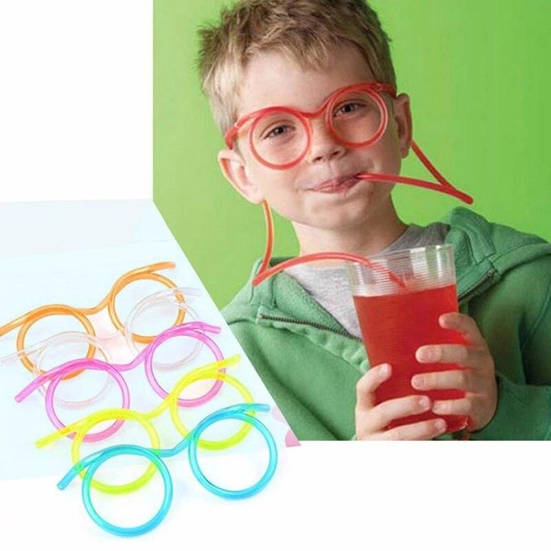 1 шт инструмент приколы забавные мягкие Пластик соломы смешные очки питьевой игрушки вечерние шутка Детские День рождения вечерние игрушки