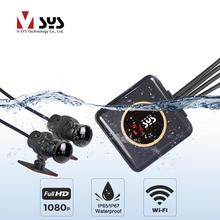 SYS VSYS cuerpo completo impermeable motocicleta cámara grabadora P6FL WiFi Dual 1080P Full HD motocicleta DVR cámara de salpicadero negro GPS caja