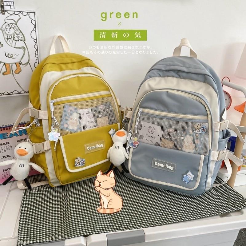 Модные женские рюкзаки, школьный ранец с куклой для девочек, нейлоновые дорожные рюкзаки контрастных цветов