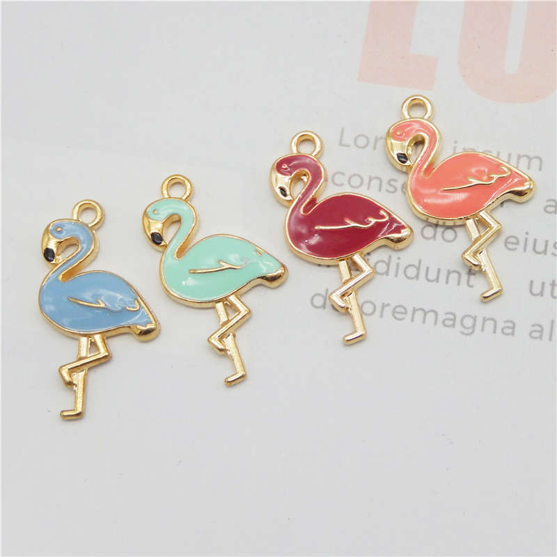 Julie Wang 4PCS Enamel Flamingo Charms 4 Colors Bird Animal Bracelet Necklace Earring Alloy Gold Tone Jewelry Making Accessory