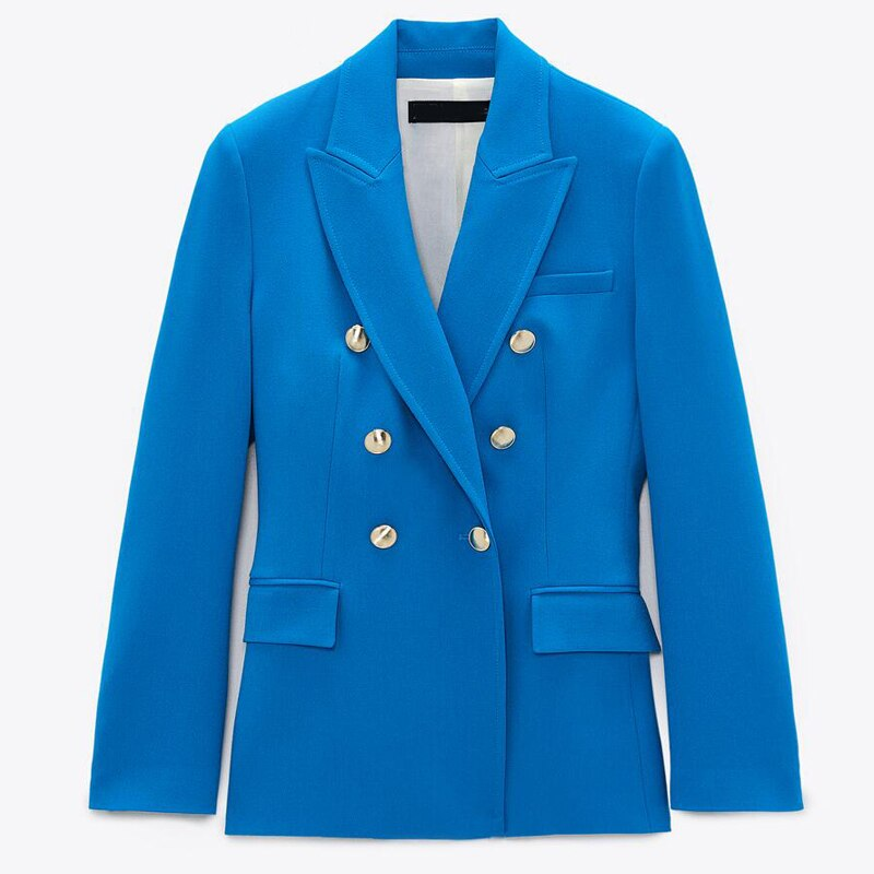 New Spring Autumn Vintage Navy Blue Blazer Coat Women Fashion Pockets Solid Office Suit Jacket Ladie