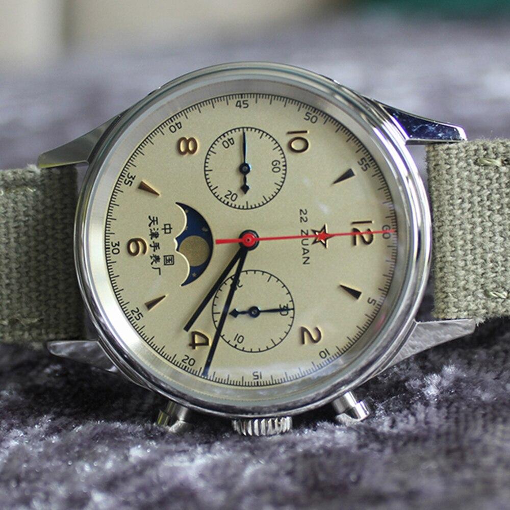 Reloj cronógrafo 1963 para hombres, Reloj de pulsera mecánico para piloto, Reloj de Fuerza Aérea de 40mm, zafiro, cronómetro, Reloj de Hombre con fase lunar
