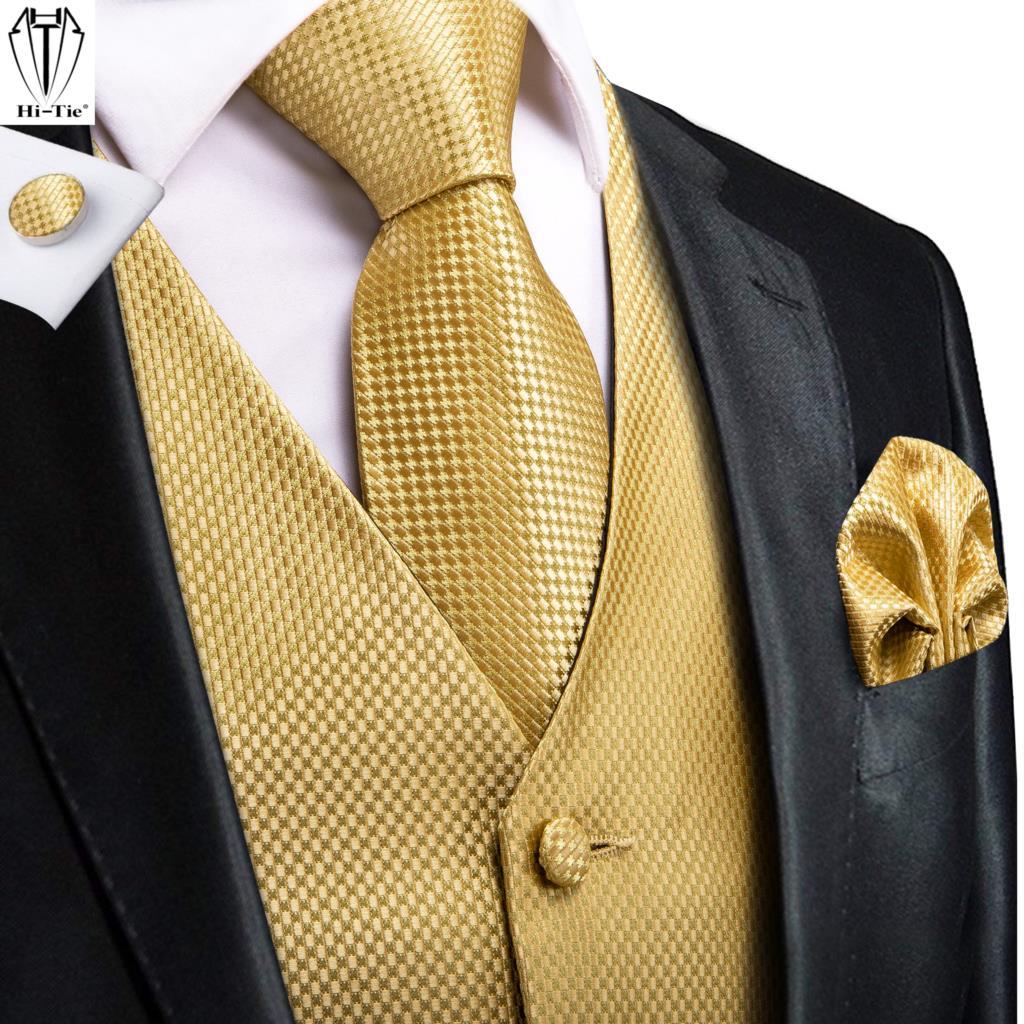 Hi-Tie жаккардовый Шелковый мужской костюм жилетки Золотой однотонный 4 шт жилет с галстуком Hanky запонки набор бизнес свадебное платье притале...