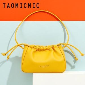 2021 New Womens Fashion PU Leather Shoulder Bag Solid Color Ins Hot Sale Ladies Messenger Bag Armpit Pleated Cloud Handbags