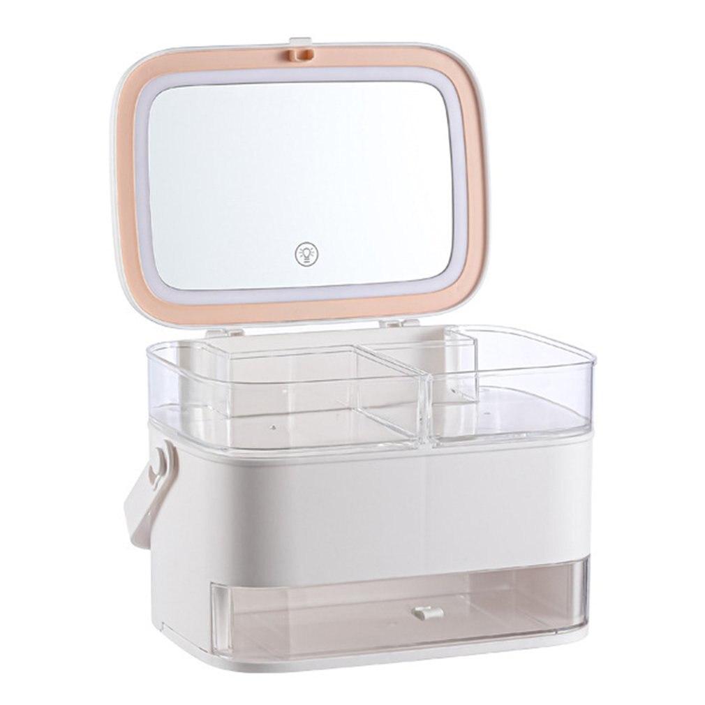 صندوق تخزين مستحضرات التجميل مع مرآة و مصباح ليد سطح المكتب ماكياج المنظم حقيبة للتخزين الغبار واقية درج نوع المنظم مستحضرات التجميل