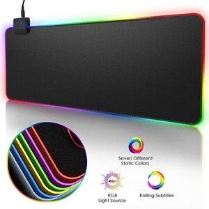 RGB игровой коврик для мыши, большой коврик для мыши, игровой коврик для компьютерной мыши со светодиодной подсветкой XXL, большой коврик для мыши с подсветкой, коврик для клавиатуры, Настольный коврик