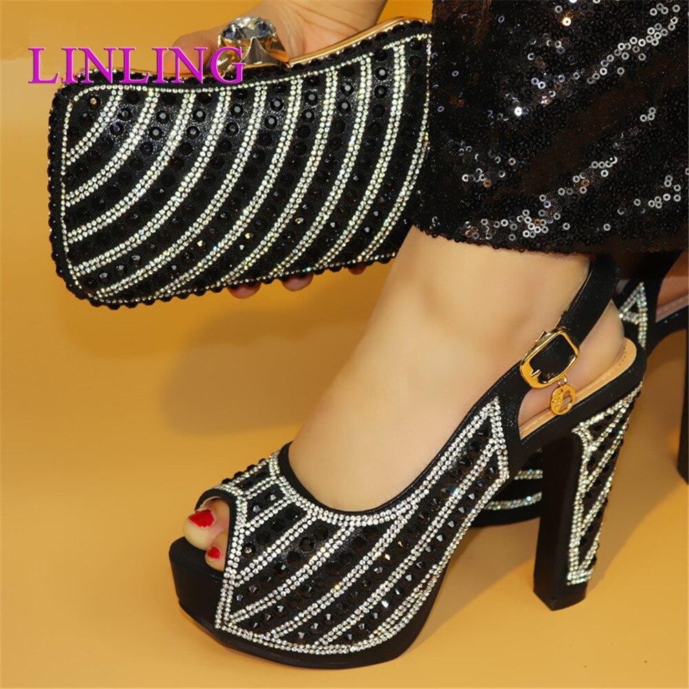 الصنادل مع الراين مضخات أنيقة عالية 12.5 سنتيمتر مضخات 2021 الأفريقية النساء الأحذية الإيطالية مع حقيبة مطابقة للحزب مساء