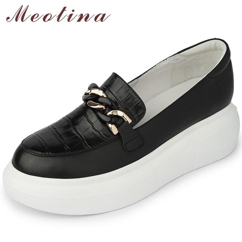 Meotina أحذية خفيفة بدون كعب امرأة الطبيعية جلد طبيعي أحذية منصة مسطحة جولة تو الشقق أحذية نسائية عادية 2021 الربيع الأبيض