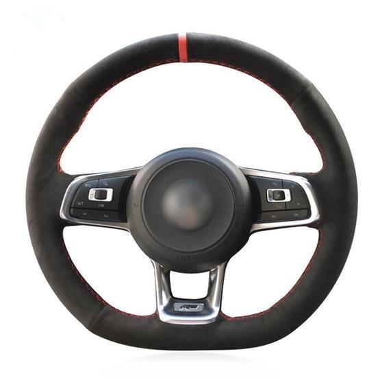 DIY Hand Sewing Car Steering Wheel Cover Black Suede for Volkswagen VW Golf 7 GTI Golf R MK7 VW Polo GTI Scirocco 2015 2016
