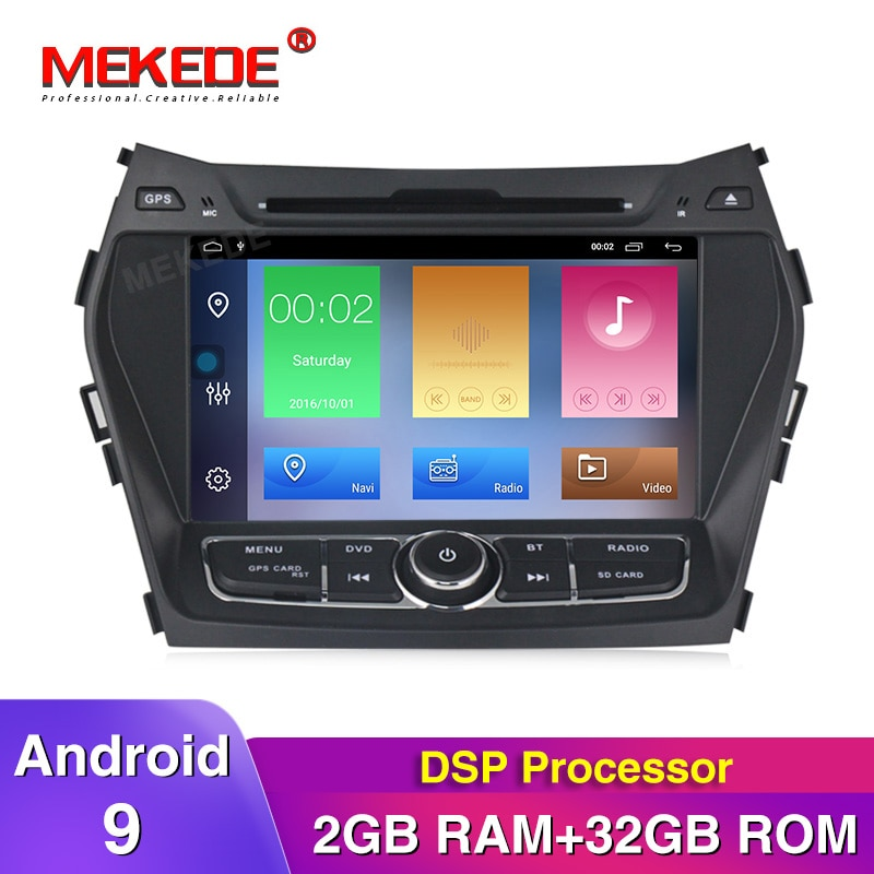 MEKEDE HD DSP 2G RAM Android 9 salida AV reproductor de DVD de coche para Hyundai IX45 Santa fe GPS reproductor de navegación radio Estéreo