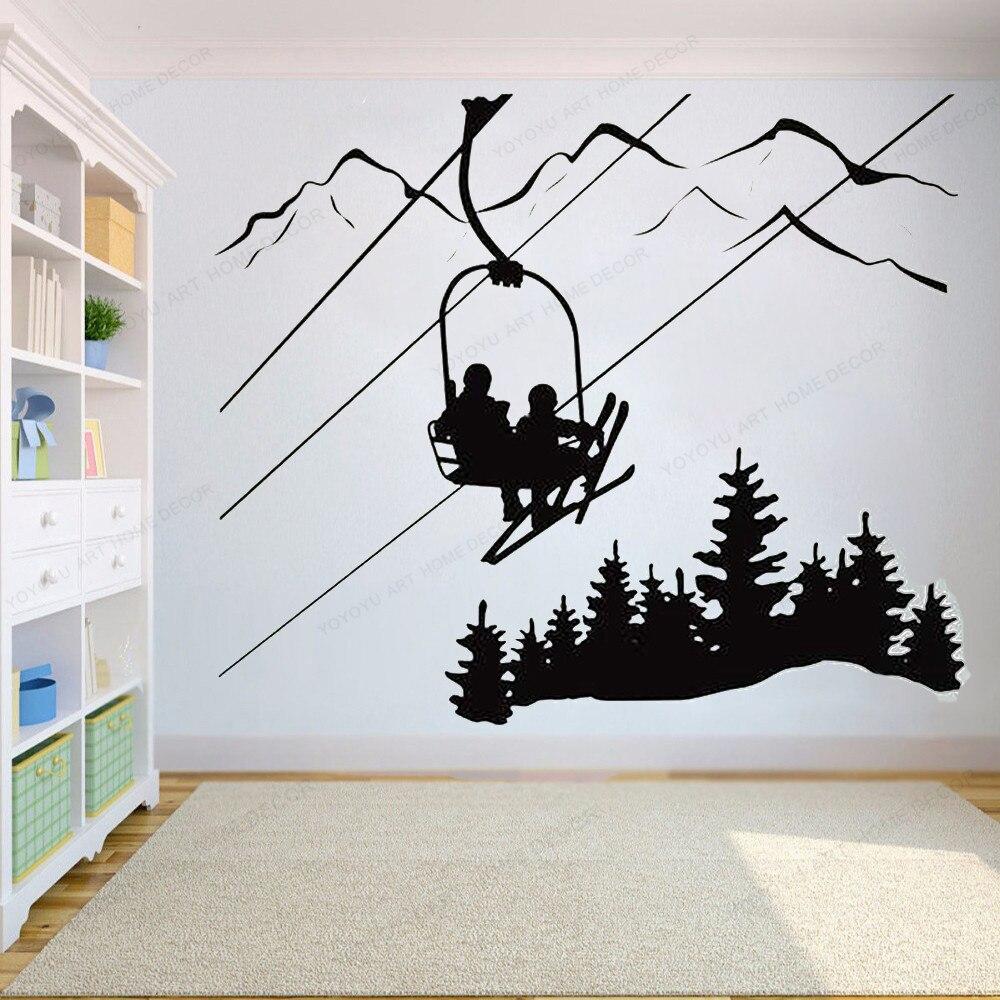Pegatina de pared para esquí, silla de esquí de montaña, pino, vinilo decorativo de pared de árbol, deportes de invierno, decoración de pared, mural artístico para descenso HJ1083