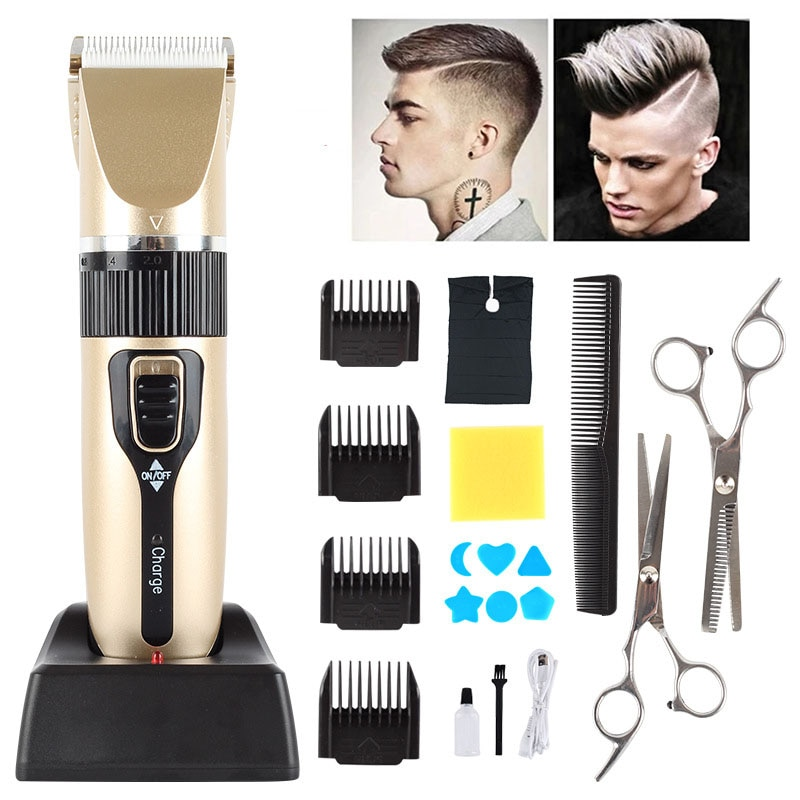 Electric Hair clipper Rechargeable Breard Trimmer Cordless Shaver Trimmer 0mm Ceram Blade Men Barber Hair Cutting Machine enlarge