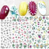 1pcs 3d vintage flowers series nail stickers leaf nail art transfer stickers summer slider diy manicure adhesive decor tip
