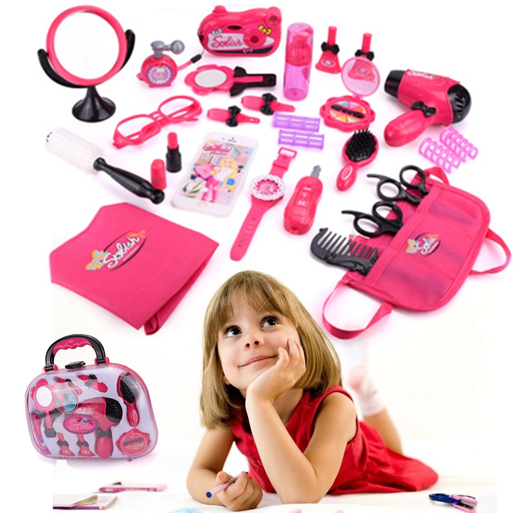 Las chicas hacen juguete conjunto de juguetes para juego de imitación de simulación que bolsa de maquillaje belleza salón de pelo Kit de herramientas niños princesa Juguetes