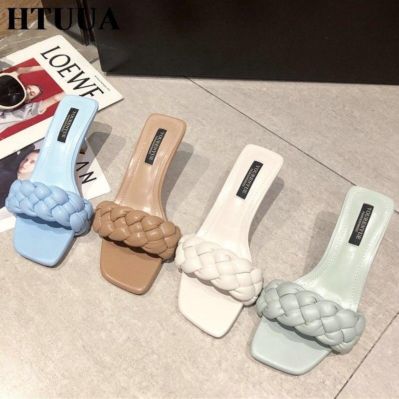 HTUUA 2020, zapatilla de diseño tejido para mujer, sandalia fina de tacón alto con punta abierta, deslizamiento en verano, chanclas para exteriores, zapatos SX4017