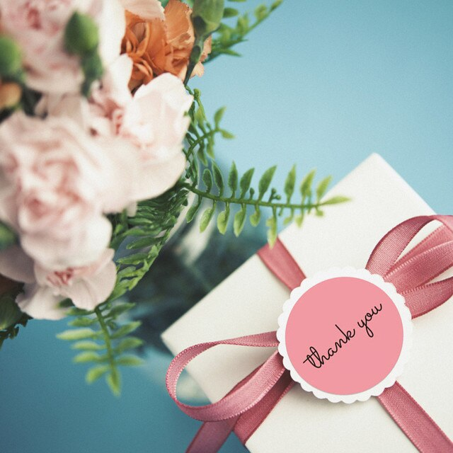 500Pcs/Roll Thank You Pink Stickers Self Adhesive Handmade Labels Wedding Gift Party Decoration 6