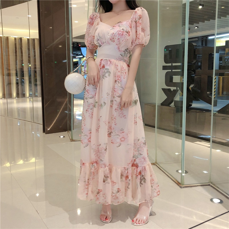 Summer Dress 2020 Women Clothes French Vintage Elegant Bubble Sleeves One Word Shoulder Flower Pattern Long