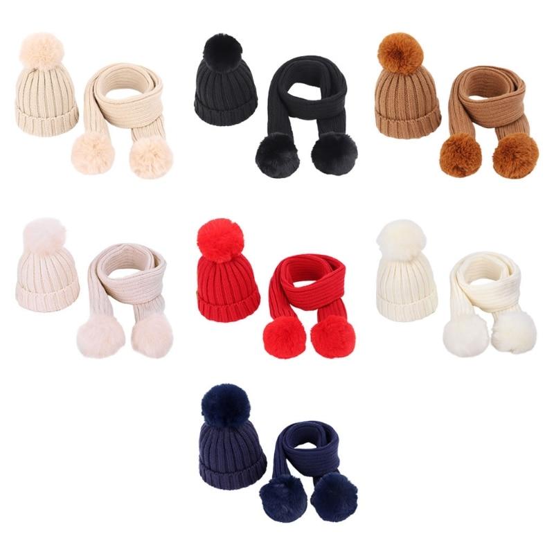 2017 new lambswool wool knit knitted pom pom winter women female girl tippet hat beanie gloves scarf bundle set mom warm hat 2pcs Children Knitted Beanie Hat Scarf Set Infant Baby Pom Pom Cap Warm Winter