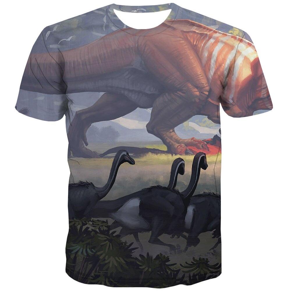 Kyku marca dinossauro t camisa dos homens animais anime roupas de guerra t-shirts 3d hilariante impressão camisa harajuku manga curta