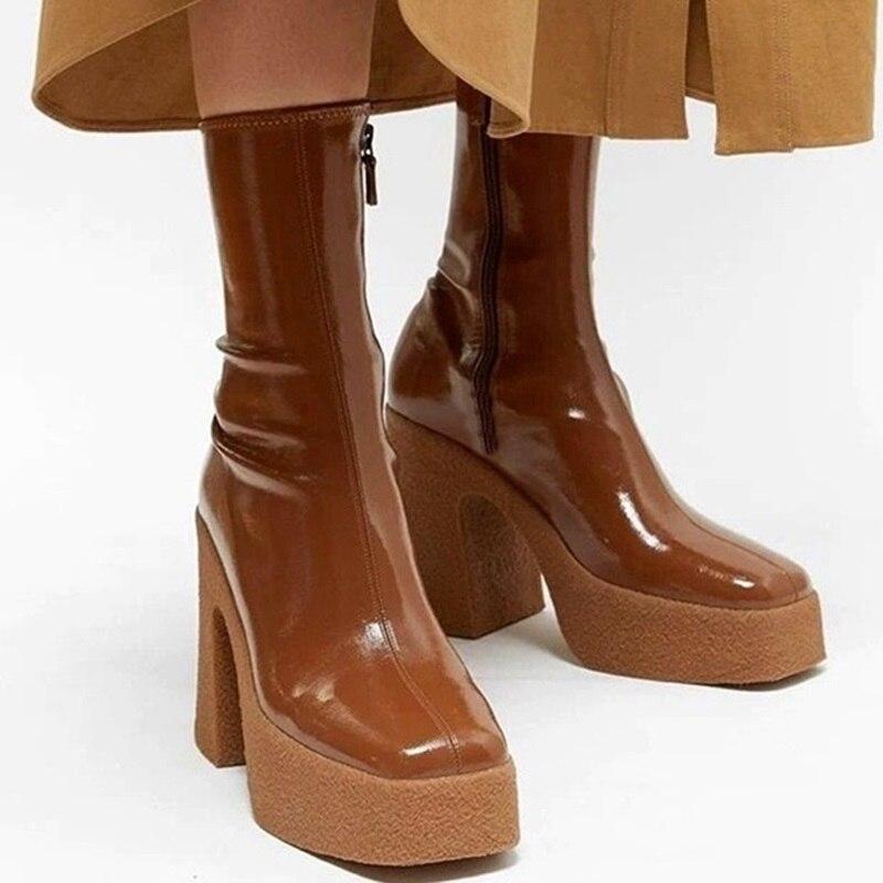 حذاء نسائي من الجلد المصنوع من الألياف الدقيقة, حذاء طويل ذو نعل سميك ، باللون الأسود والبني ، مناسب لفصل الخريف والشتاء