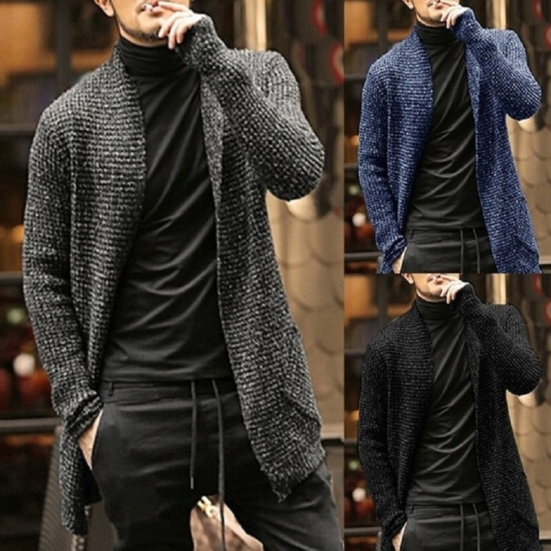 Winter Cardigan Men O-neck Sweater Solid Thick Warm Long Sleeve Sweater Mohair Clothing England Style Casual Jacket Pull Homme