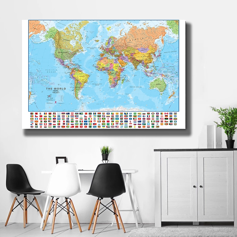 150x100cm The World Political Map Foldable No-fading World Map with National Flags for Culture and Travel Poster Decor