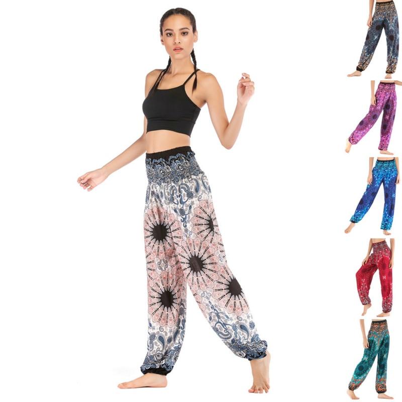 Moda algodón suelto estampado de Mandala Casual para hombres mujeres tailandeses Harem pantalones Boho Maxi Smock alta cintura pantalón Yoga Joggers mujeres