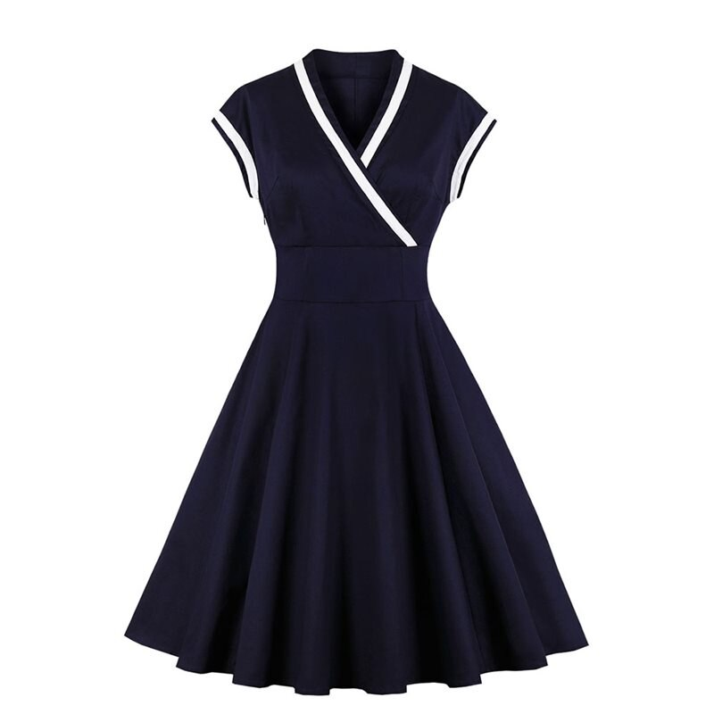 Sisjuly retro damska sukienka trapezowa czarna vintage 1950s z krótkim rękawem dekolt w serek elegancka sukienka sexy gothic 2019 sukienka vintage