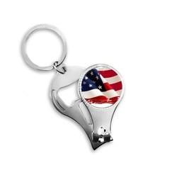 Escovação de ar estrelas e listras américa bandeira país unha clipper anel chaveiro