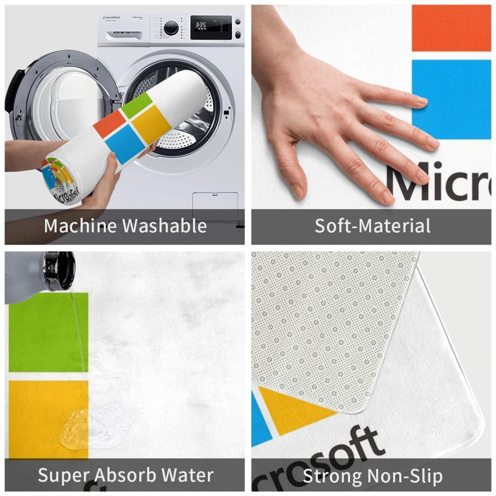 Microsoft Merch Logo Carpet Mat Rug Cushion Soft Windows Windows 10 Tech Bill Gates Office
