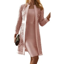 2021 New Arrival Women's Mother of The Bride Dresses Long Sleeves Knee Length Jacket Formal Party Ev