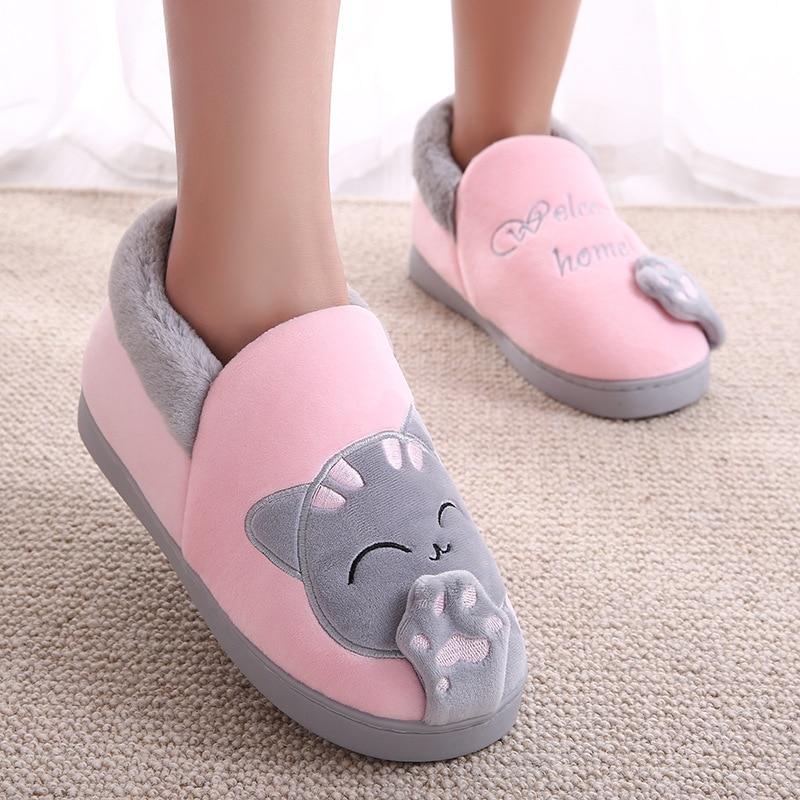 Winter Kids Slippers Toddler Girls Animal Cat Flip Flop Plush Parent Slides Baby Boys Indoor Shoes Warm House Children Slippers
