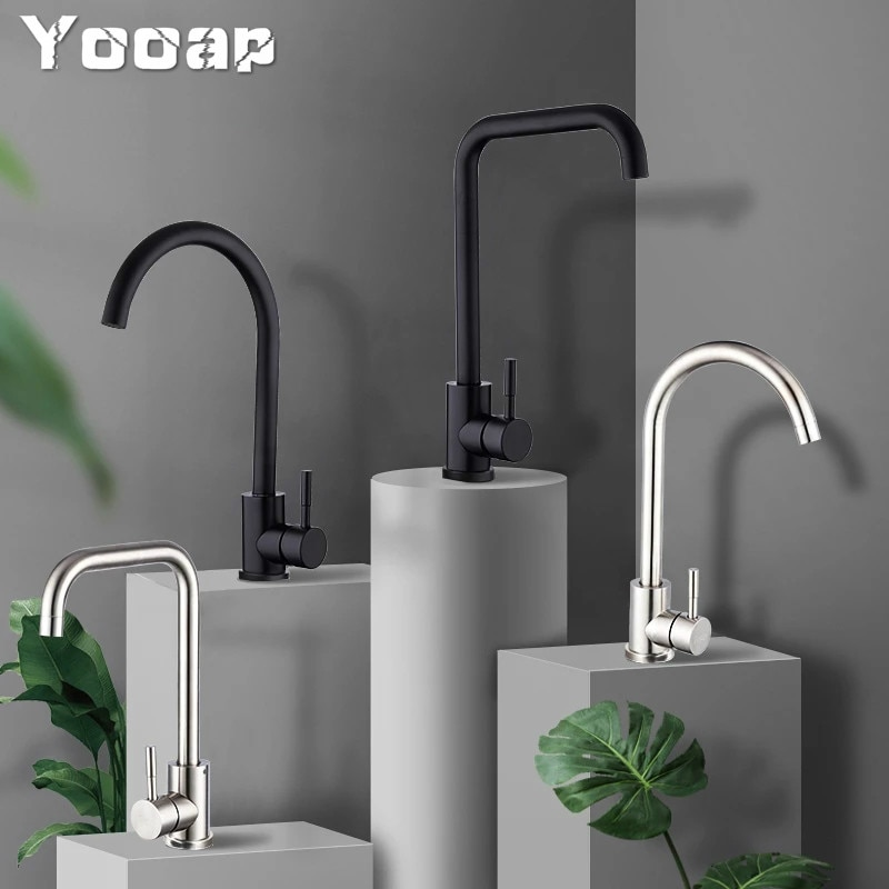 Yooap Frap High Quality Stainless Steel Black Spray Paint Kitchen Sink Faucet Single Handle Cold and Hot Water Mixer Faucets недорого