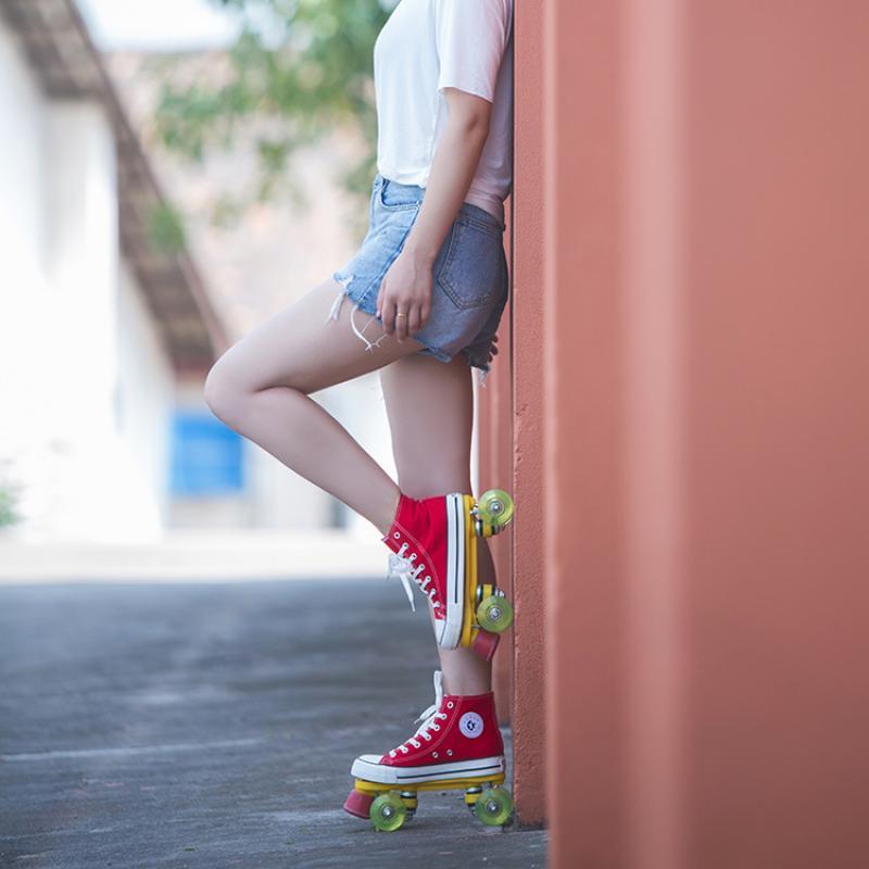 Парусиновая обувь, двухрядные роликовые коньки, роликовые коньки со вспышкой, роликовые коньки для взрослых и женщин, обувь для тренировок ...