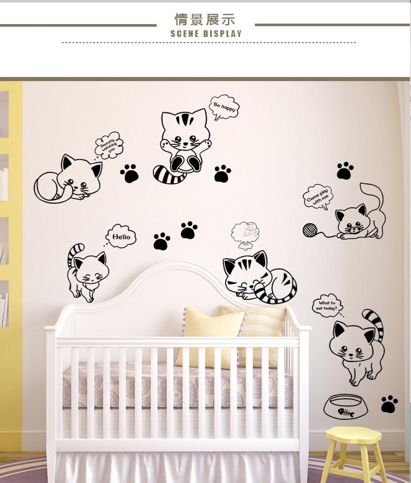 Xc9018 bonito gatito de dibujo animado pegatinas creativas sala de estar dormitorio cabecera pared pegatinas papel de pared de fondo de TV