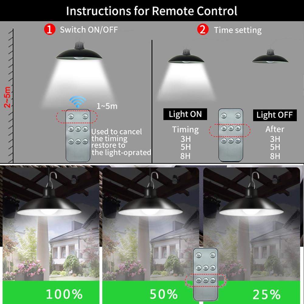 remote 30 led 2 head Retro Lampshade Solar Emergency Lamp Outdoor Waterproof Wall Light 50W Yard Pathway Solar Chandelier Light enlarge