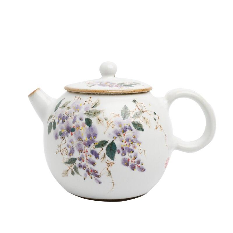 Tetera hecha a mano Tetera de cerámica estilo chino Vintage pintada a...