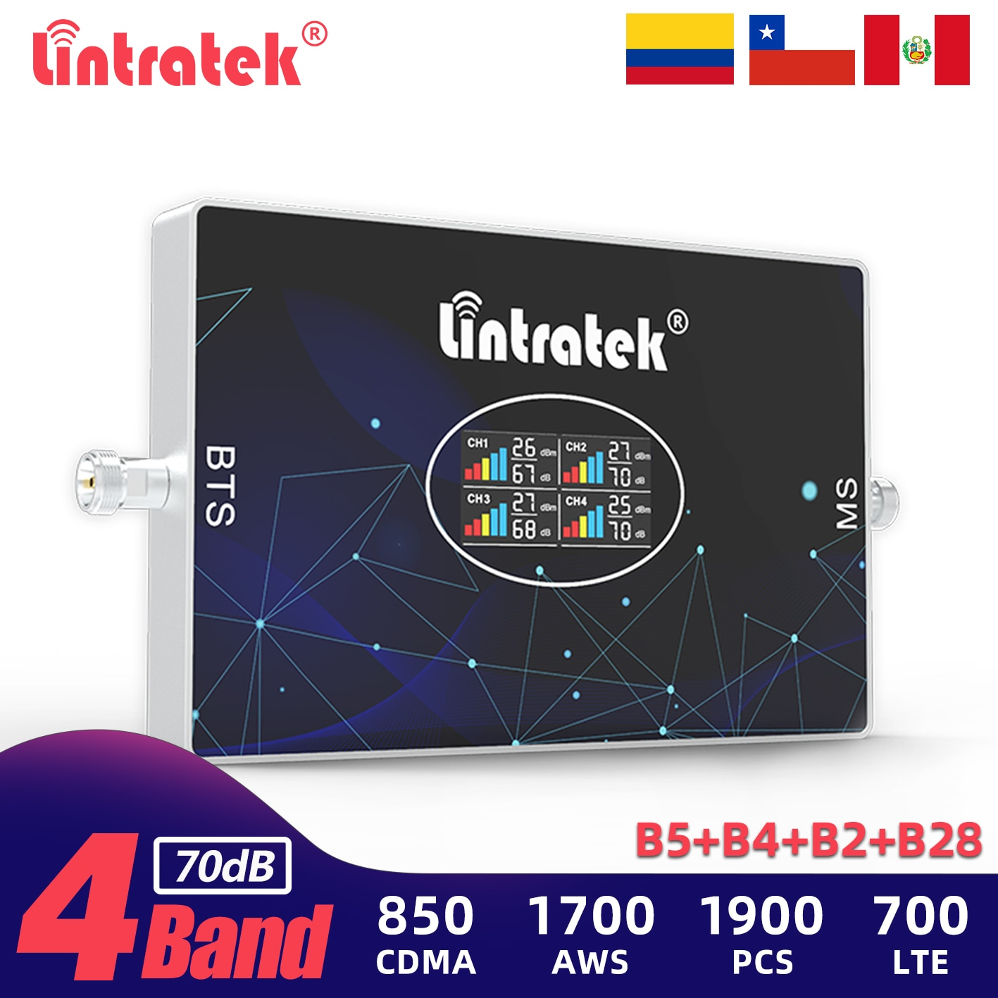 Lintratek أربعة الموجات إشارة مكرر 850 700 1900 1700 الفرقة 28 الخلوية الداعم 2G GSM 3G 4G LTE الهاتف الخليوي شبكة مكبر للصوت