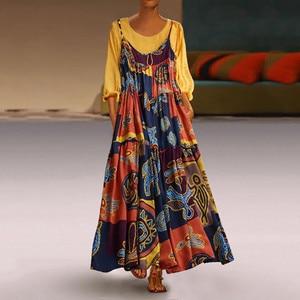 Maxi Dress Vintage Lady Round Collar Boho Maxi Dress Women Patchwork Two-piece O-Neck Wrist Print Dress Long Dress Vestidos