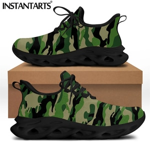 INSTANTARTS Cool Camouflage Pattern Mesh Knitted Sneakers for Women Spring Comfort Lace up Flat Shoes Light Casual Zapatillas