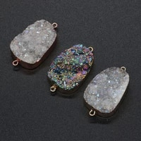 natural stone druzy crystal quartz pendant double hole connector charm black silver for diy nacklace bracelet jewelry making