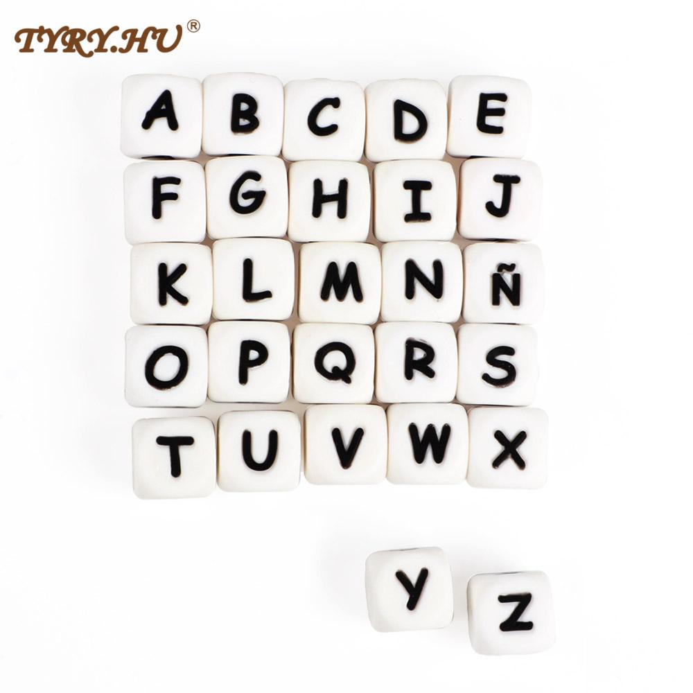 TYRY.HU 30pcs 12mm Letter Silicone Beads English Alphabe Beads Food Grade Silicone Chewing Beads DIY