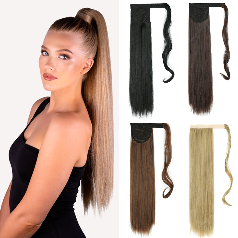 AZIR Long Straight Ponytail Hair Synthetic Extensions Heat Resistant Hair 22Inch Wrap Around Pony Hairpiece for Women
