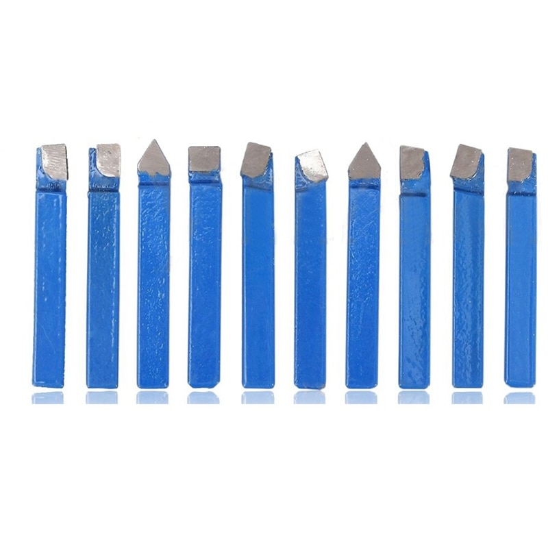10Pcs Blue Carbide Lathe Tool Bit 1/4Inch Metal Tip Tipped Cutter Set For Cnc Tools