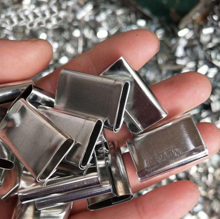 1000 g/saco 13/16/19mm metal selos embalagem cinta clipes fivela para pp e pet cintas