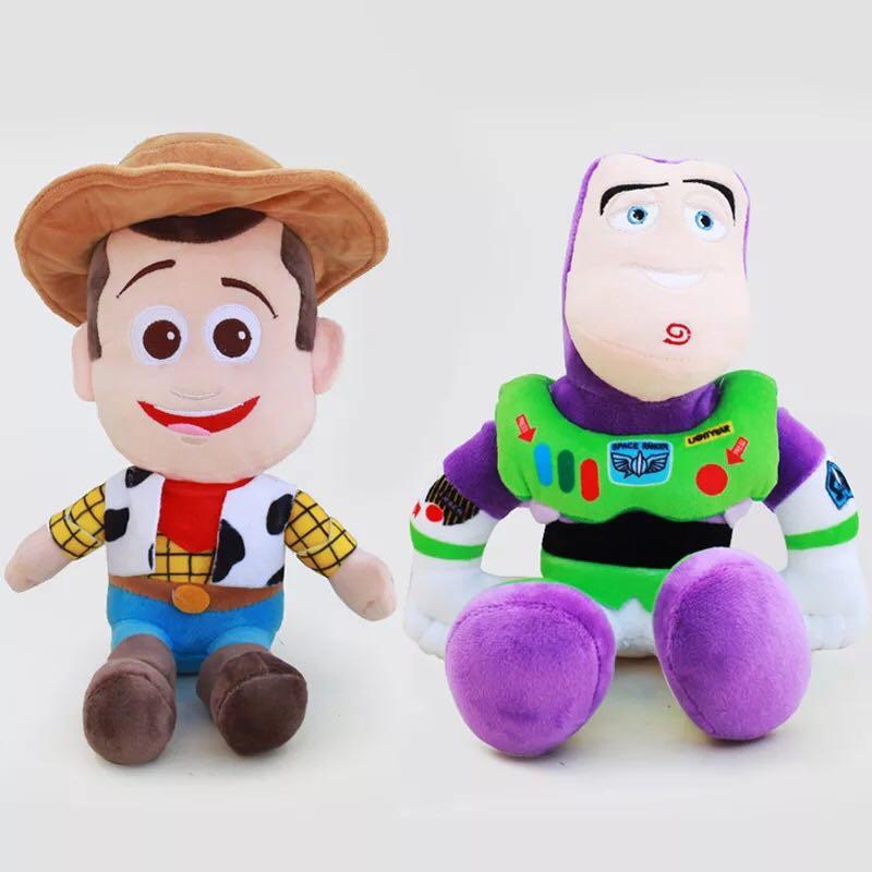 2 unids/lote de muñecos de peluche Woody & Buzz Lightyear, juguetes de peluche de 25cm, regalos de muñecas suaves para niños